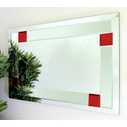 Utah Clear and Red Glass Bevelled Mirror 92X61cm