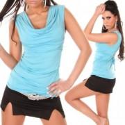 Top sexy épaulettes façon strass et décolleté plongeant turquoise