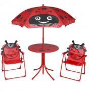 vidaXL Детски градински бистро комплект с чадър, червен