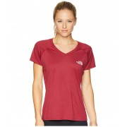 The North Face Short Sleeve Reaxion V-Neck Tee Rumba Red HeatherBurnished Lilac