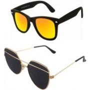 Daller Retro Square, Wayfarer Sunglasses(Black, Golden)