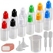 DIY Crafts 10ml Plastic Squeezable Liquid Bottle with Childproof Cap Thin Tip Funnel Measuring Cup Pipette for E-liquids Multicolor(Pack of 48 pcs)