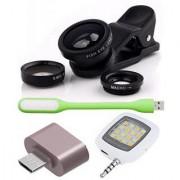 Combo of Universal Mobile Camera Lens Kit + OTG Adapter + USB LED Light and Selfie LED Flash Light