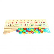 Magideal Wooden Count & Match Numbers 75 pcs Math Teaching Counting Aid Learning Toy