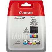 ORIGINAL Canon Value Pack nero / ciano / magenta / giallo CLI-521 Photo Value Pack 2933B010 4 cartucce d'inchiostro CLI-521bk + CLI-521c + CLI-521m + CLI-521y + 50 fogli 10 x 15 cm carta fotografica glossy