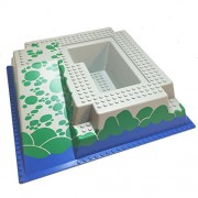 Lego Parts: Pirates Rock Island Refuge - Baseplate, Raised 32 x 32 with Ramp and Pit, Water, Green Stones Pattern
