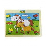 Emob Pack of 6 Wooden 20 Piece Jigsaw Animal Theme Puzzle Educational Game for Kids (20 Pieces)
