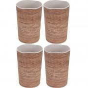 Merkloos 4x Melamine drinkbekers/mokken houtprint 11 cm