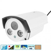 H.264 Wired Array LED infrarood 720P Bullet IP-Camera 1.0 Mega Pixels 6mm vaste brandpuntsafstand Lens bewegingsdetectie / Privacy masker en 30m IR nachtzicht volgzaam om Onvif 2.1 (met CE & Rohs certificaat)