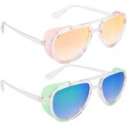 NuVew Aviator, Shield Sunglasses(Green, Blue, Orange, Golden)