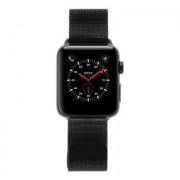 Apple Watch Series 3 Edelstahlgehäuse schwarz 42mm mit Milanaise-Armband schwarz (GPS + Cellular) edelstahl spaceschwarz