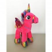 Unicornio Pony Pegaso De Peluche Arcoiris 30 Cm Rosa