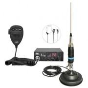 Kit Statie radio CB PNI ESCORT HP 8001L ASQ + Casti HS81 + Antena CB PNI S9 cu magnet