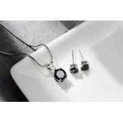 Platinum Plated Black Crystal Pendant Set for Womens Buy Designer Imitation Jewellery Pendant Sets