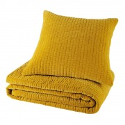 Maisons du Monde Piqué velvet cushion in mustard yellow 60 x 60cm