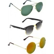 Eyevy Clubmaster Sunglasses(Green, Black, Multicolor)