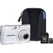 Praktica Digital Camera Luxmedia Z250 20 Megapixel Silver + 32GB SDHC Card + Case