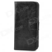 funda protectora de cuero de la PU flip open wallet para el iphone 5 - negro