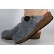 Papuci de casa gri din lana dama/dame/femei (cod 14046-14)