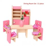 Biowow Wooden Miniature House Furniture Toy Set Kids Toy Gift Dining Room Children's Educational Toy Dollhouse