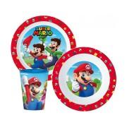 Super Mario micro étkészlet szett pohárral