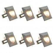 vidaXL 6 darab négyzet alakú ezüst kültéri LED falilámpa 5 W
