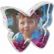 Glob foto fluture cu inimioare personalizat 9.7x2.7x8.8 cm fotografie inclusa