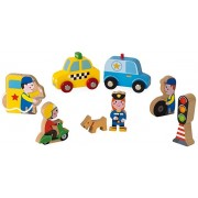 Janod Mini Story Box Toy - 8 Piece Imagination and Roll Playing Game - City Painted Wooden People Play Set with Cars, Pets and Traffic Lights for Imaginative Play for Ages 3+
