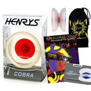Henrys COBRA YoYo (Ice/Red) Professional YoYo +Instructional Booklet of Tricks + Original Spin YoYo Tricks DVD (75 Tricks to Learn!) + Flames N Games Travel Bag! Pro YoYos For Kids and Adults!