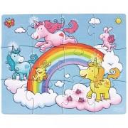 3 Puzzle-uri De Vis Cu Sclipici - Unicorni Pe Nori ( 12, 15, 18 piese )
