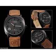 Round Dial Brown Leather Strap Mens Watch
