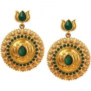 Spargz Antique Wedding & Party Wear Green Stone Gold Plated Lotus Design Dangle Earrings For Women AIER_1384