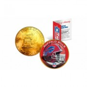 Merrick Mint NFL Team Helmet Logo 24K Gold Plated 1976 IKE Bicentennial Dollar US Coin Buffalo Bills Red/Yellow