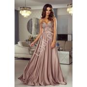 Suknia wieczorowa na cieńkich ramiączkach suknia na wesele w kolorze kawa z mlekiem - Bella