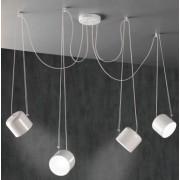 Paco lampara colgante metal blanco o negro mate 4 luces