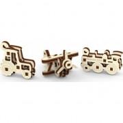Set 3 Puzzle 3D mecanic Wooden City Widgets Transport Lemn natur 37 piese