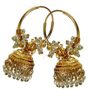 Rabbi Gold plated Radha Pearl Jhumka Earrings High quality