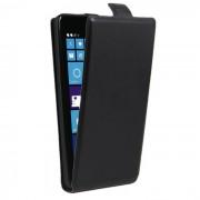 Arriba-abajo PU del tiron de la caja protectora abierta para Nokia Lumia 535 - Negro