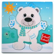 Puzzle din lemn Urs Polar Label-Label, 30 x 30 cm, 1 an+
