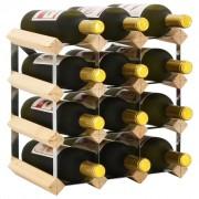 vidaXL Стойка за вино за 12 бутилки, масивна борова дървесина