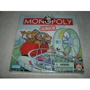 Monopoly Junior Board Game 2005 Edition with Amusement Park Theme Featuring Ticket Booth Houses and