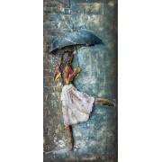 Tablou DANCING IN THE RAIN, metal, 80x4x40 cm