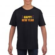 Shoppartners Happy new year t-shirt zwart voor kinderen