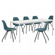 [en.casa]® Dizajn blagovaonski set - stol (bijeli,180x80cm) - sa 6 stolica (tirkizne)