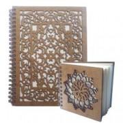 Set agenda si carnetel din lemn colectia Dantela in cutie cadou