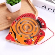 Children Puzzle Toy Wooden Magnetic Small Size New Small Fish Pattern Animal Maze