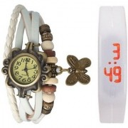white leather and led combo watch WITH SPECIAL DISCOUNT