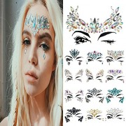 Vinmax Temporary Face Tattoos Eye Tattoo Jewel Stickers,4 Pack Festival Mermaid Rhinestones Rave Breast & Chunky Glitter Colorful Mixed Paillette &Body Stickers (Collection 1)