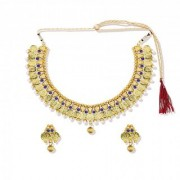Zaveri Pearls Godess Lakshmi Temple with Bead Drops Necklace Set - ZPFK5334