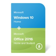 Microsoft Windows 10 Home + Microsoft Office 2016 Home and Student (W10H-O16HS-ESD) електронен сертификат